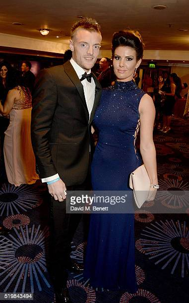 Jamie Vardy and Rebekah Nicholson attend the 6th Annual Asian Awards at The Grosvenor House Hotel on April 8 2016 in London England