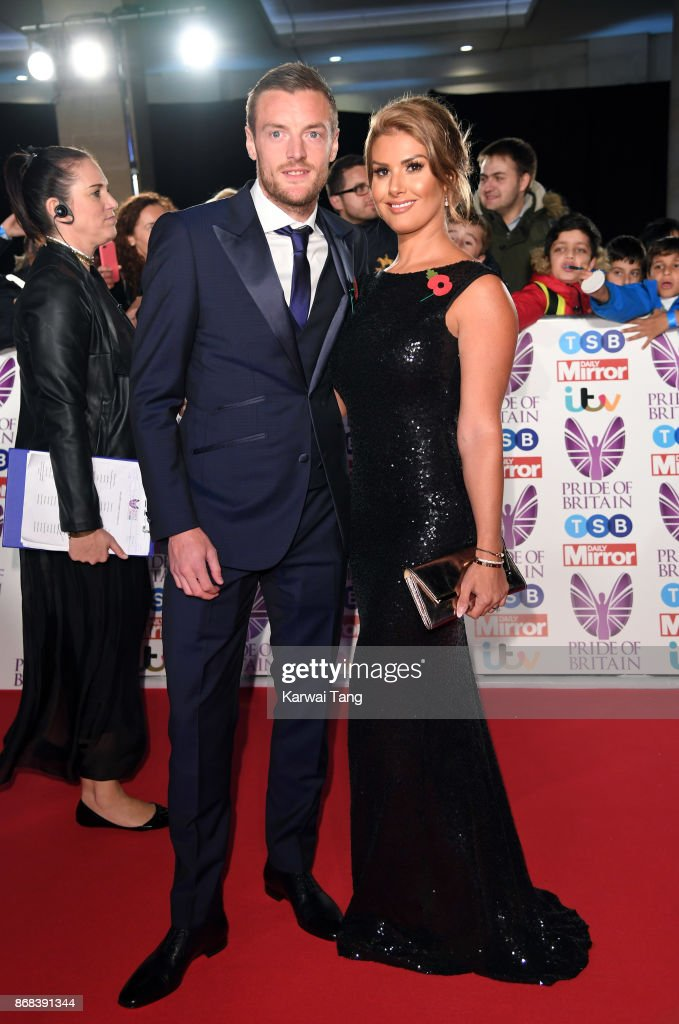 Jamie Vardy and Rebekah Vardy attend the Pride Of Britain Awards at the Grosvenor House on October 30, 2017 in London, England.