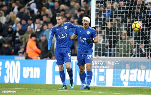 Jamie Vardy and Shinji Okazaki of Leicester celebrate after an own goal by Ayoze Perez of Newcastle United to make it 31 during the Premier League...