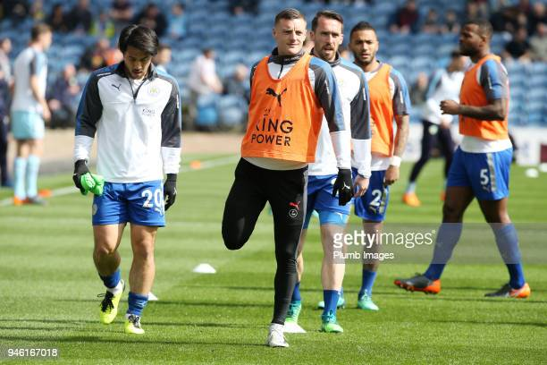 Jamie Vardy and Shinji Okazaki of Leicester City warm up at Turf Moor ahead the Premier League match between Burnley and Leicester City at Turf Moor...
