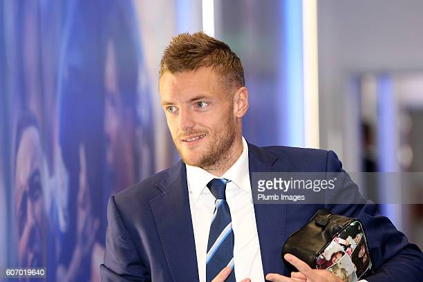 Jamie Vardy arrives for the Premier League match between Leicester City and Burnley at the King Power Stadium on September 17th 2016 in Leicester...