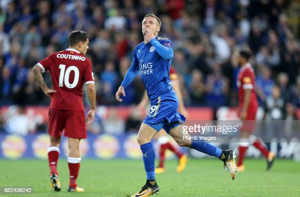 Jamie Vardy celebrates after scoring to make it 23 during the Premier League match between Leicester City and Liverpool at King Power Stadium on...