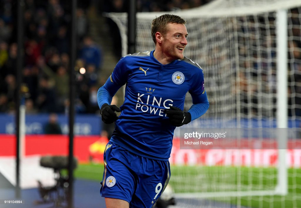 Jamie Vardy celebrates his scoring his sides first goal during The Emirates FA Cup Fifth Round match between Leicester City and Sheffield United at The King Power Stadium on February 16, 2018 in Leicester, England.