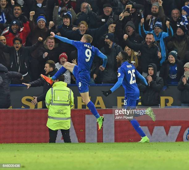 Jamie Vardy Celebrates the third goal of Liverpool during the Premier League match between Leicester City and Liverpool at The King Power Stadium on...