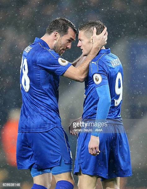 Jamie Vardy celebrates with Christian Fuchs of Leicester City after scoring a goal to make it 10 during the Premier League match between Leicester...