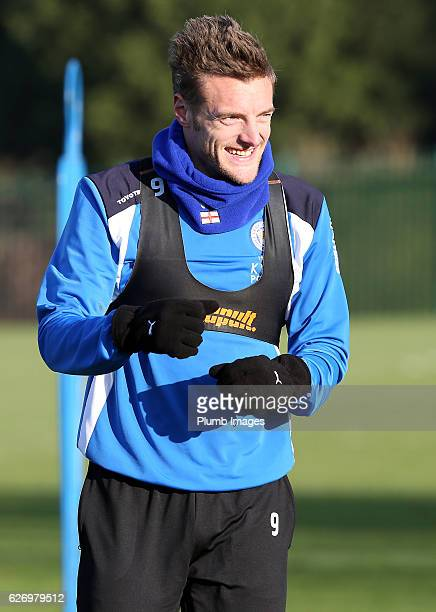 Jamie Vardy during a Leicester City training session at Belvoir Drive Training Complex on December 01 , 2016 in Leicester, United Kingdom.