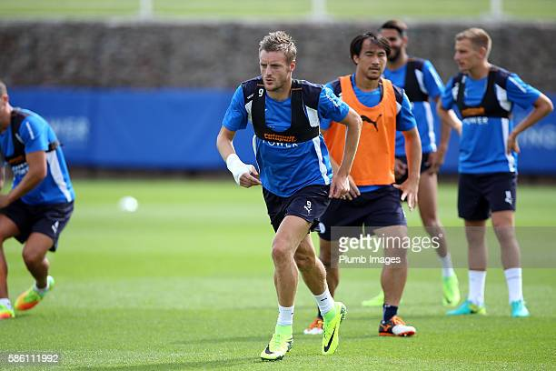Jamie Vardy during the Leicester City Training and Press Conference at Belvoir Drive Training Complex on August 05 2016 in Leicester United Kingdom