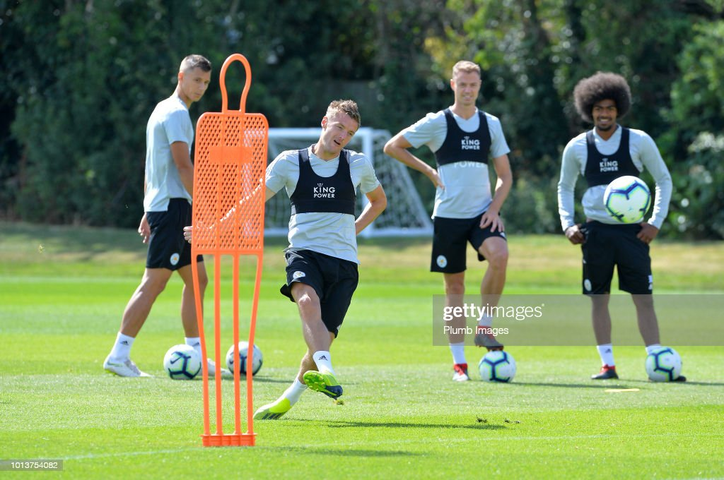 Jamie Vardy during the Leicester City training session at Belvoir Drive Training Complex on August 08, 2018 in Leicester, United Kingdom.