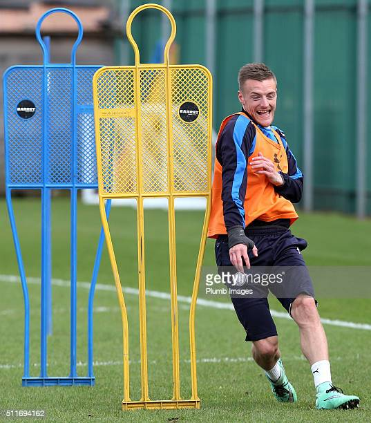 Jamie Vardy during the Leicester City training session at Belvoir Drive Training Complex on February 22 , 2016 in Leicester, United Kingdom.