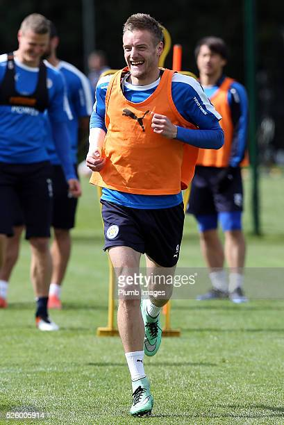 Jamie Vardy during the Leicester City training session at Belvoir Drive Training Complex on April 29th , 2016 in Leicester, United Kingdom.