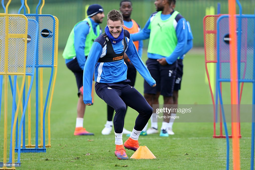 Jamie Vardy during the Leicester City training session at Belvoir Drive Training Facility on November 17 , 2016 in Leicester, United Kingdom.