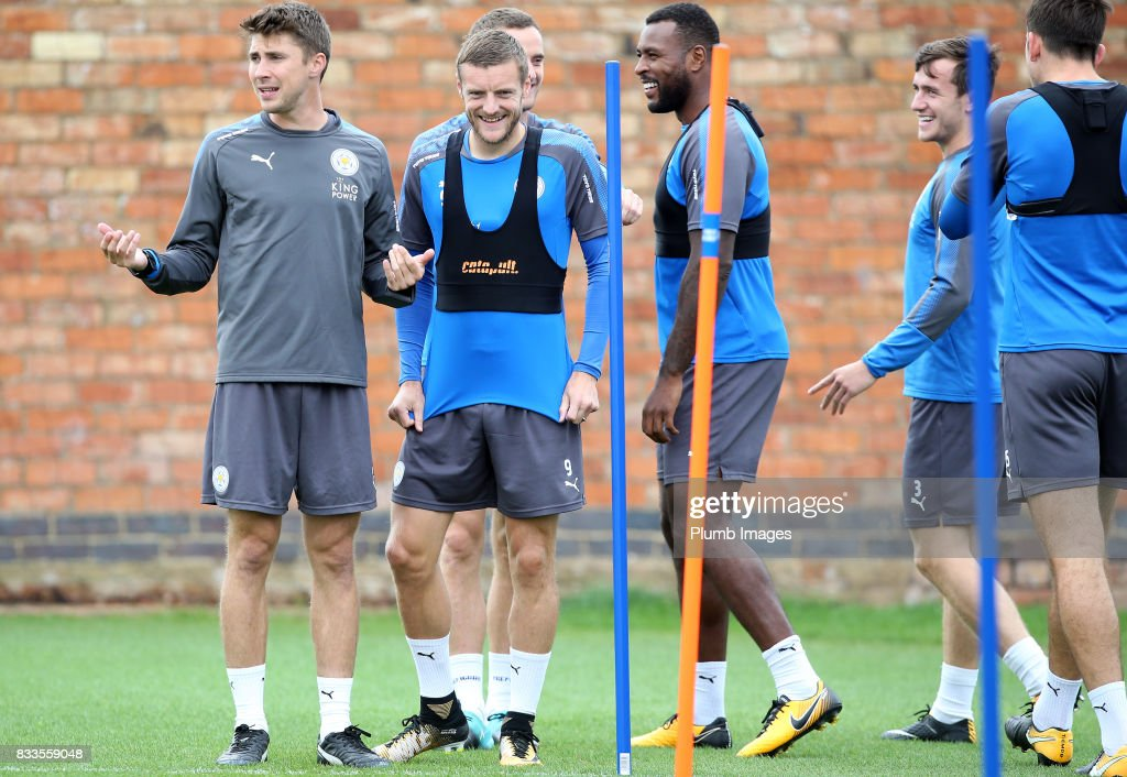 Jamie Vardy during the Leicester City training session at Belvoir Drive Training Complex on August 17 , 2017 in Leicester, United Kingdom.