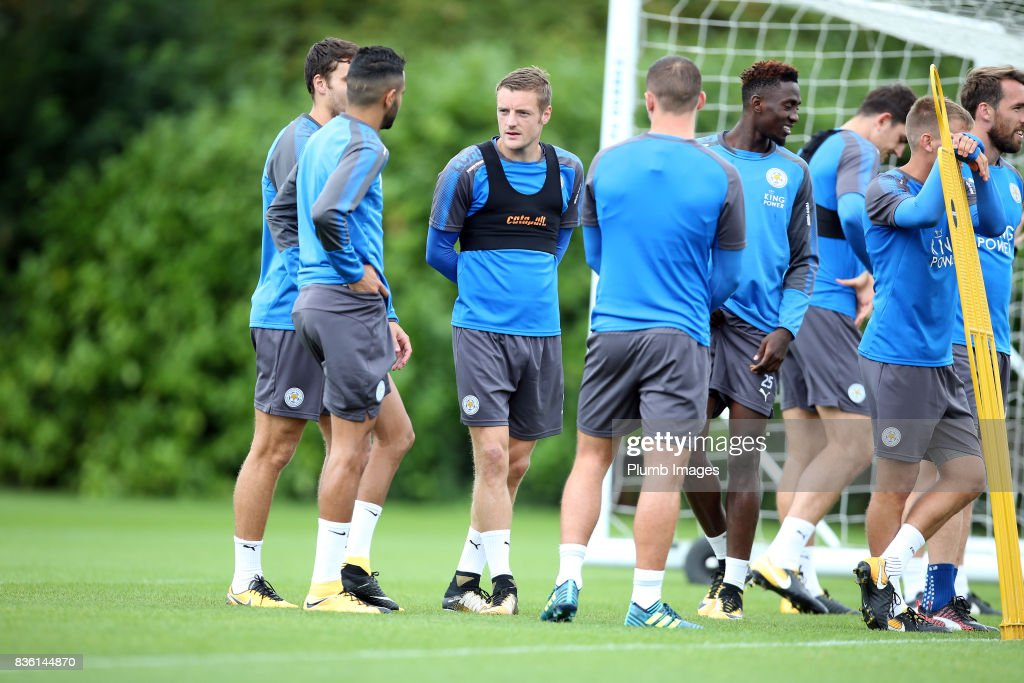 Jamie Vardy during the Leicester City training session at Belvoir Drive Training Complex on August 21 , 2017 in Leicester, United Kingdom.