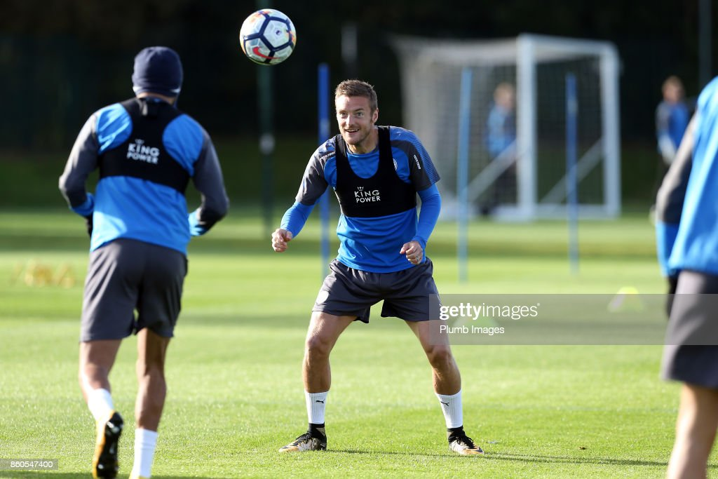 Jamie Vardy during the Leicester City training session at Belvoir Drive Training Complex on October 12 , 2017 in Leicester, United Kingdom.
