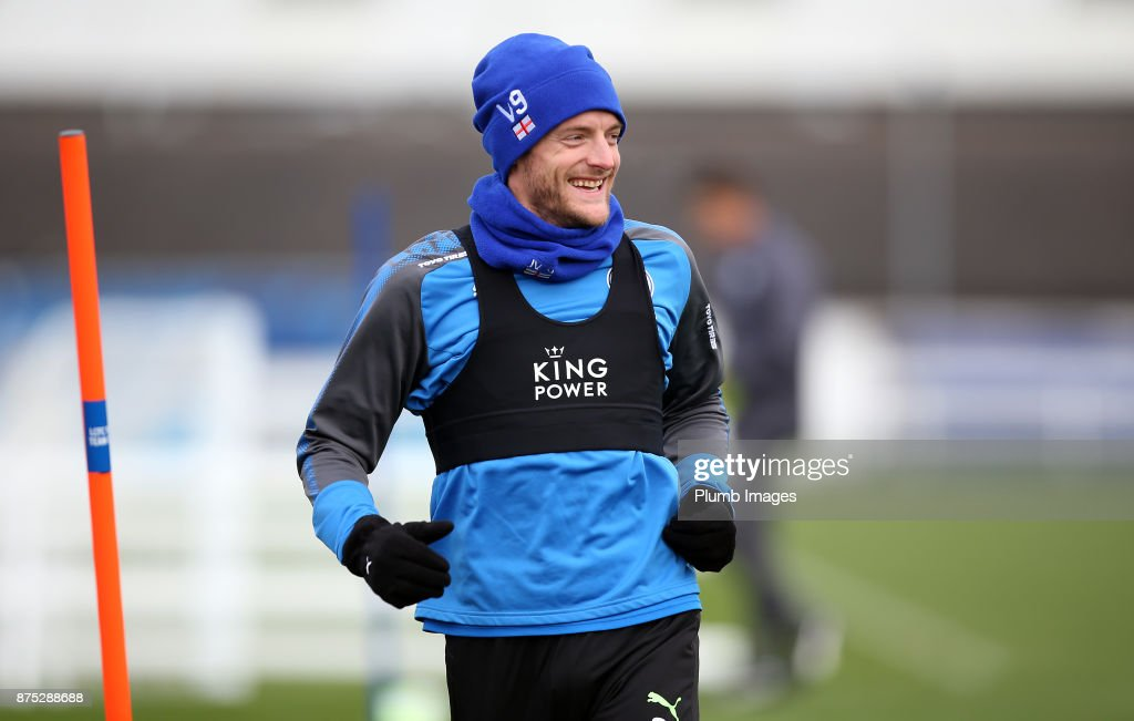 Jamie Vardy during the Leicester City training session at Belvoir Drive Training Complex on November 17 , 2017 in Leicester, United Kingdom.