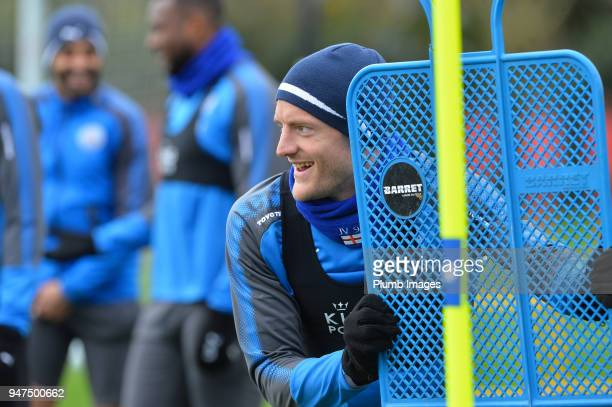 Jamie Vardy during the Leicester City training session at Belvoir Drive Training Complex on April 05 2018 in Leicester United Kingdom