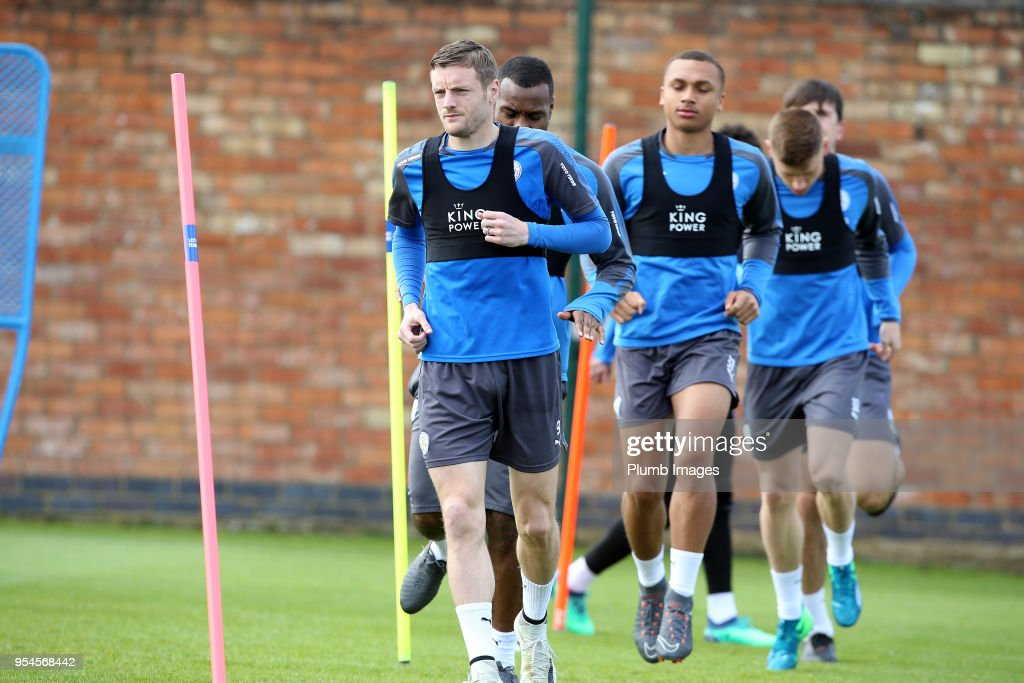 Jamie Vardy during the Leicester City training session at Belvoir Drive Training Complex on May 04 , 2018 in Leicester, United Kingdom.