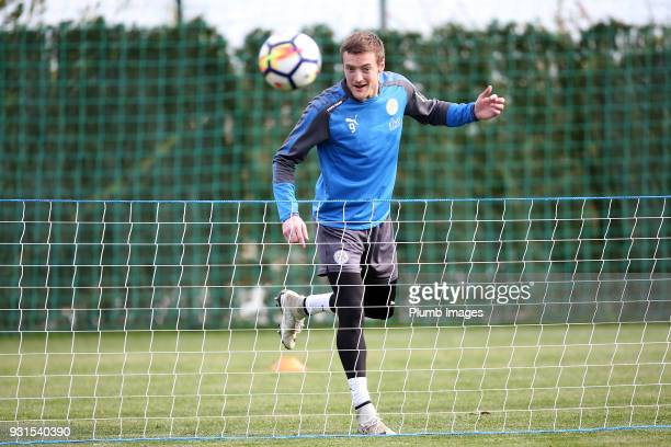 Jamie Vardy during the Leicester City training session at the Marbella Soccer Camp Complex on March 13 2018 in Marbella Spain