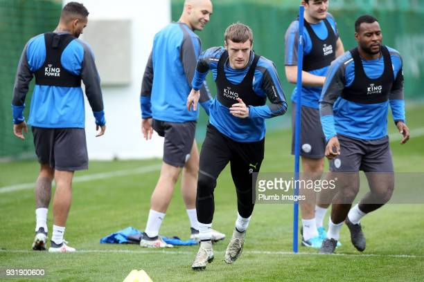 Jamie Vardy during the Leicester City training session at the Marbella Soccer Camp Complex on March 14 2018 in Marbella Spain