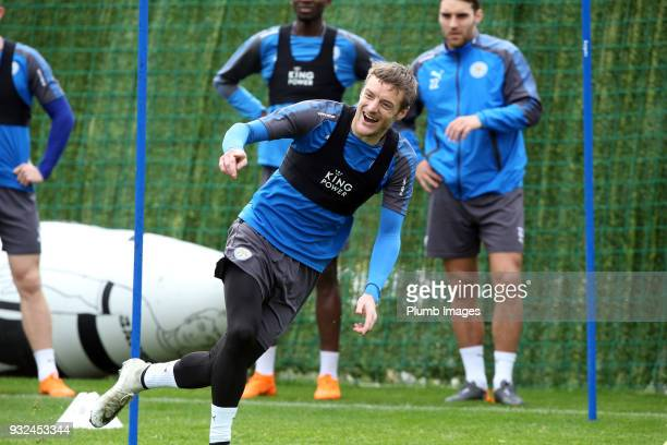 Jamie Vardy during the Leicester City training session at the Marbella Soccer Camp Complex on March 15 2018 in Marbella Spain