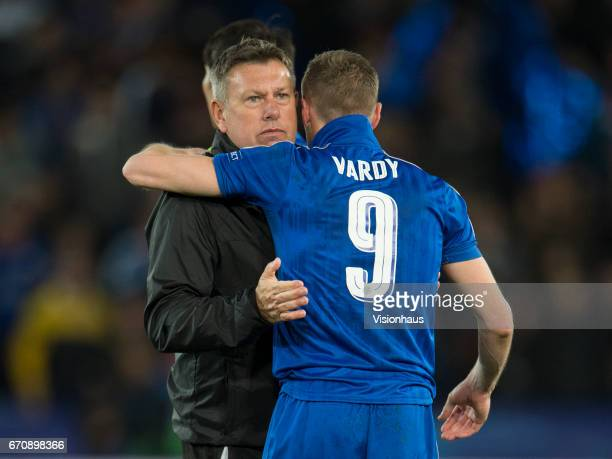 Jamie Vardy embraces Leicester City Manager Craig Shakespeare after the UEFA Champions League Quarter Final Second Leg match between Leicester City...
