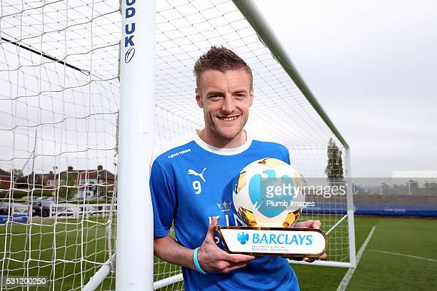 Jamie Vardy is Presented with Barclay's Player of the Year at Belvoir Drive Training Complex on May 13th 2016 in Leicester United Kingdom