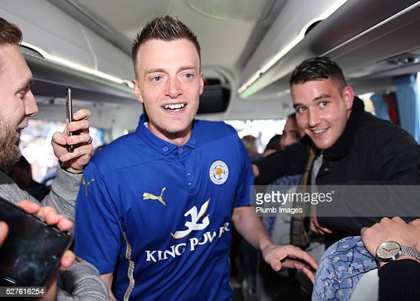 Jamie Vardy lookalike Lee Chapman joins Jamie Vardy and the Leicester City team on their way to a Premier League title celebration dinner on May 3...