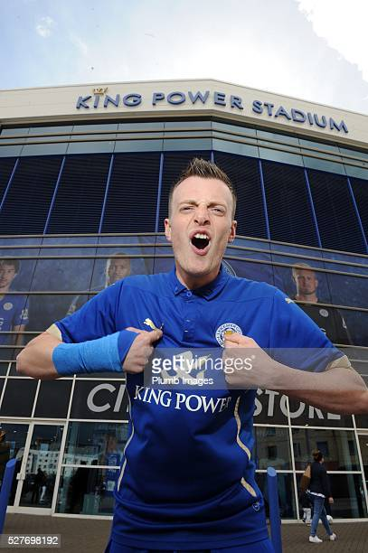 Jamie Vardy lookalike Lee Chapman poses at the King Power Stadium on May 3 2016 in Leicester England