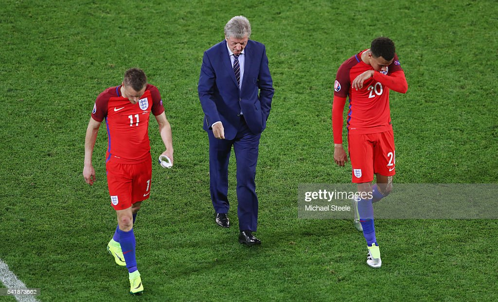 Jamie Vardy, manager Roy Hodgson and Dele Alli of England show their frustration after their scoreless draw in the UEFA EURO 2016 Group B match between Slovakia and England at Stade Geoffroy-Guichard on June 20, 2016 in Saint-Etienne, France.