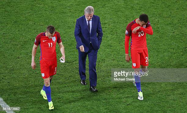 Jamie Vardy manager Roy Hodgson and Dele Alli of England show their frustration after their scoreless draw in the UEFA EURO 2016 Group B match...