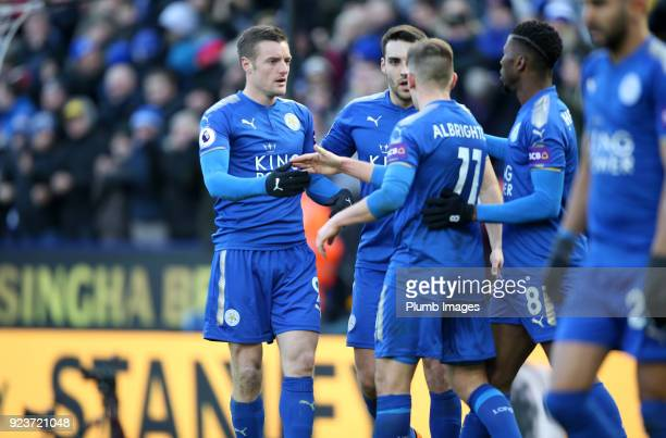 Jamie Vardy Marc Albrighton Kelechi Iheanacho and Matty James of Leicester City celebrate after a Jack Butland of Stoke City own goal makes it 11...