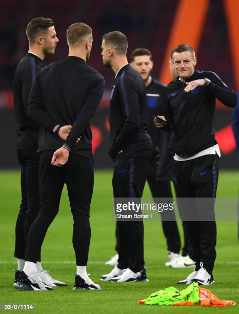 Jamie Vardy of England and team mates look on prior to the international friendly match between Netherlands and England at Johan Cruyff Arena on...