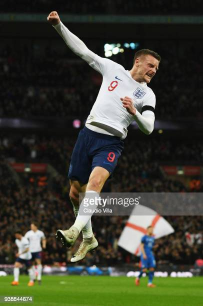 Jamie Vardy of England celebrates after scoring the opening goal during the friendly match between England and Italy at Wembley Stadium on March 27...
