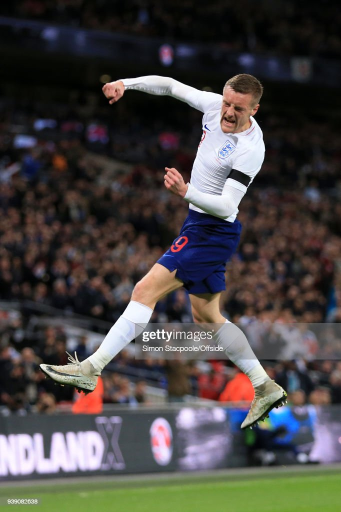 Jamie Vardy of England celebrates after scoring their 1st goal during the international friendly match between England and Italy at Wembley Stadium on March 27, 2018 in London, England.