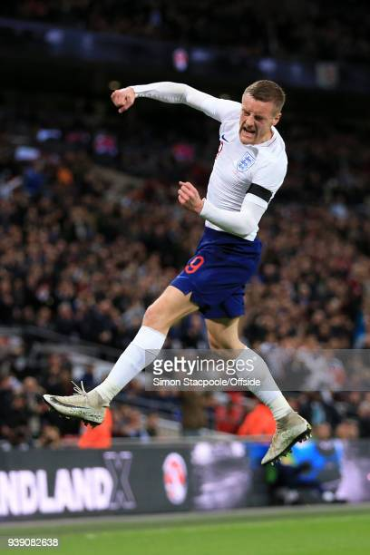 Jamie Vardy of England celebrates after scoring their 1st goal during the international friendly match between England and Italy at Wembley Stadium...
