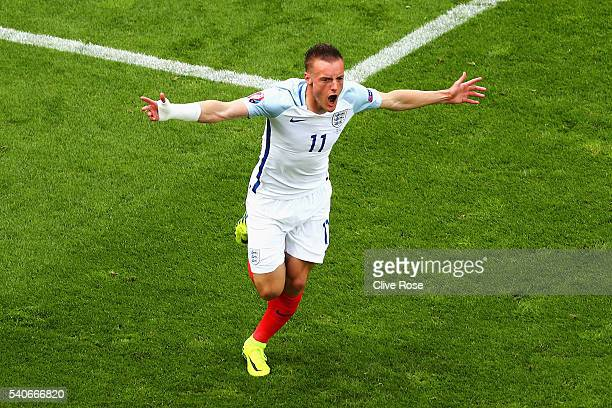 Jamie Vardy of England celebrates scoring England's first goal during the UEFA EURO 2016 Group B match between England and Wales at Stade...