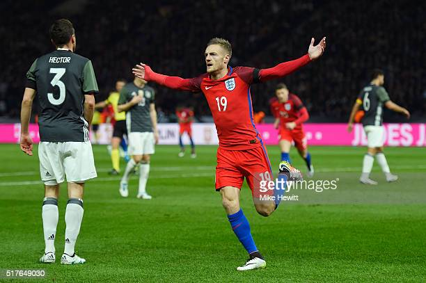Jamie Vardy of England celebrates scoring his team's second goal during the International Friendly match between Germany and England at...