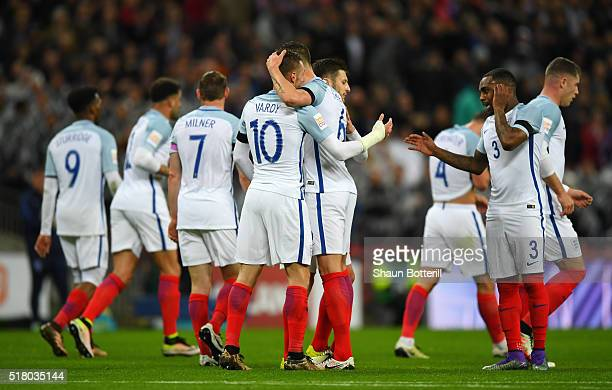 Jamie Vardy of England celebrates scoring the opening goal with John Stones during the International Friendly match between England and Netherlands...