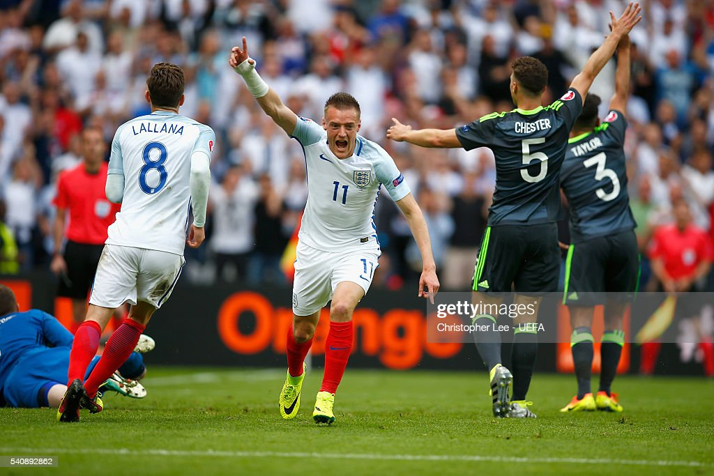 Jamie Vardy of England celebrates scoring their first goal during the UEFA EURO 2016 Group B match between England v Wales at Stade Bollaert-Delelis on June 16, 2016 in Lens, France.