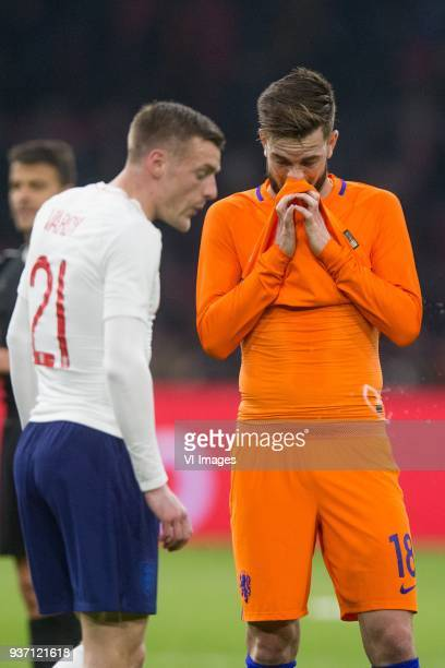 Jamie Vardy of England Davy Propper of Holland during the International friendly match match between The Netherlands and England at the Amsterdam...