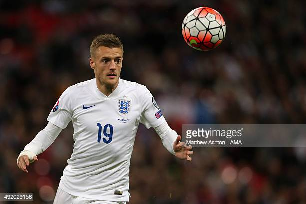Jamie Vardy of England during the UEFA Euro 2016 Qualifier match between England and Estonia at Wembley Stadium on October 9 2015 in London England