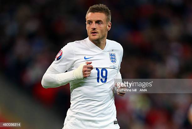 Jamie Vardy of England during the UEFA EURO 2016 Qualifier match between England and Estonia at Wembley Stadium on October 9 2015 in London United...