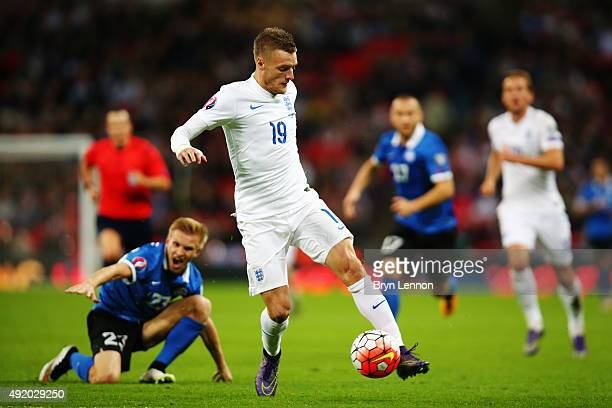 Jamie Vardy of England evades Taijo Teniste of Estonia during the UEFA EURO 2016 Group E qualifying match between England and Estonia at Wembley on...