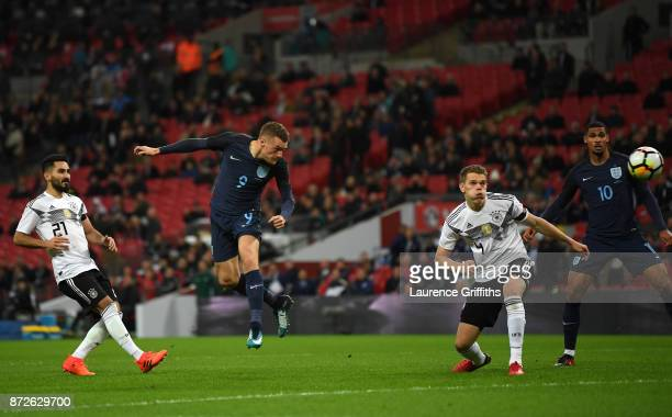 Jamie Vardy of England heads on target during the International friendly match between England and Germany at Wembley Stadium on November 10 2017 in...