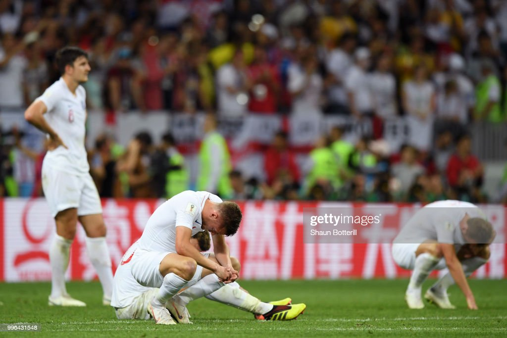 Jamie Vardy of England looks dejected following his sides defeat in during the 2018 FIFA World Cup Russia Semi Final match between England and Croatia at Luzhniki Stadium on July 11, 2018 in Moscow, Russia.