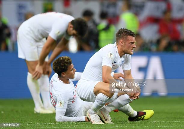 Jamie Vardy of England looks dejected following his sides defeat in the 2018 FIFA World Cup Russia Semi Final match between England and Croatia at...