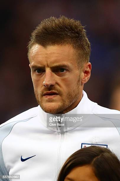 Jamie Vardy of England looks on ahead of the international friendly match between England and Portugal at Wembley Stadium on June 2 2016 in London...