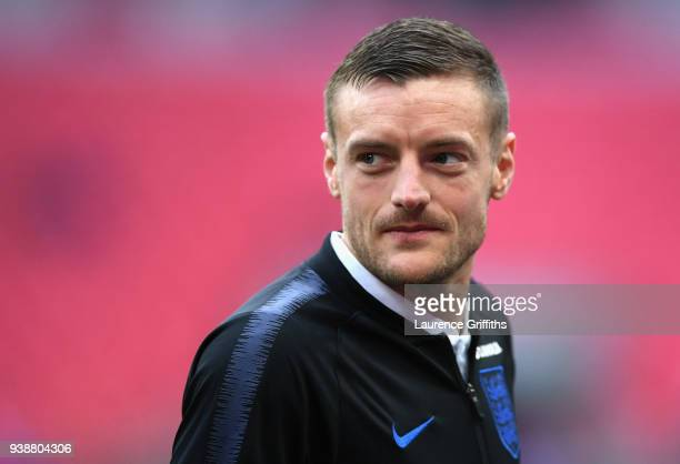 Jamie Vardy of England looks on prior to the International friendly between England and Italy at Wembley Stadium on March 27 2018 in London England