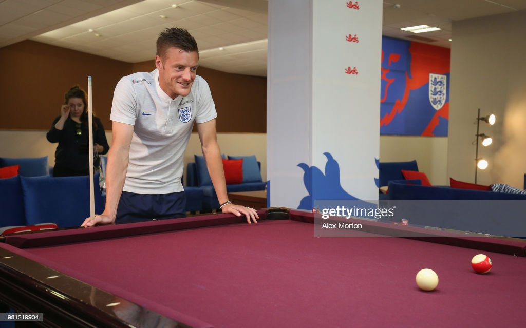 Jamie Vardy of England plays pool during the England Media Access on June 22, 2018 in Saint Petersburg, Russia.
