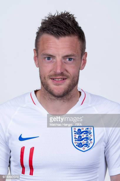 Jamie Vardy of England poses for a portrait during the official FIFA World Cup 2018 portrait session at on June 13 2018 in Saint Petersburg Russia